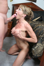 mature secretary takes off