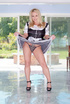 Busty blonde peels off her black and white maid's…