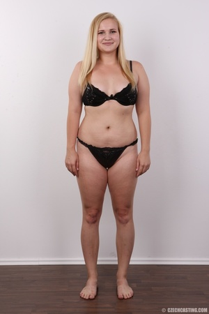 Pretty blonde slowly peels off her black - XXX Dessert - Picture 7