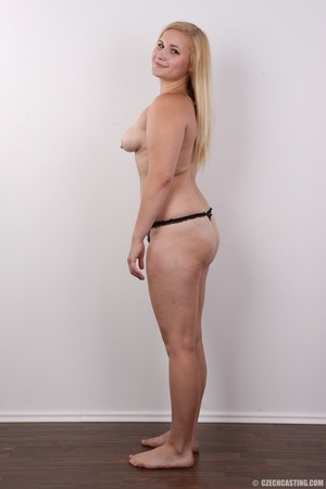 Pretty blonde slowly peels off her black - XXX Dessert - Picture 9