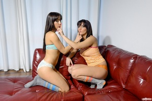Knockout babes in stripes socks get into some lezzie poses on a red couch. - XXXonXXX - Pic 4