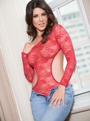 Superb babe in a red teddy and jeans flashes her - XXXonXXX - Pic 3