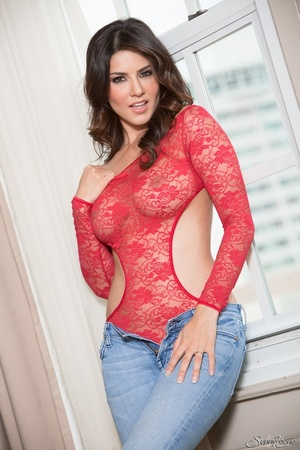 Superb babe in a red teddy and jeans flashes her privates by the window. - XXXonXXX - Pic 3