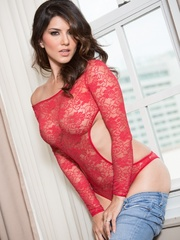 Superb babe in a red teddy and jeans flashes her - XXXonXXX - Pic 5