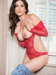 Superb babe in a red teddy and jeans flashes her - XXXonXXX - Pic 7
