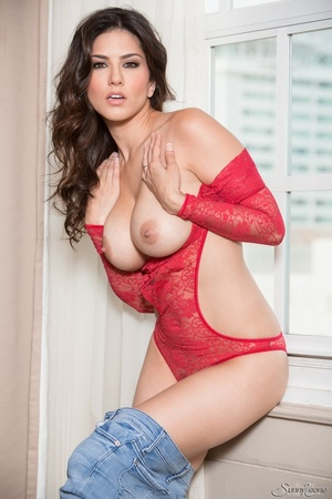 Superb babe in a red teddy and jeans flashes her privates by the window. - XXXonXXX - Pic 7