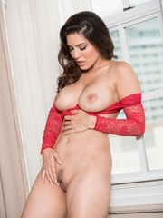 Superb babe in a red teddy and jeans flashes her - XXXonXXX - Pic 12