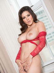 Superb babe in a red teddy and jeans flashes her - XXXonXXX - Pic 13