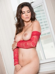 Superb babe in a red teddy and jeans flashes her - XXXonXXX - Pic 14