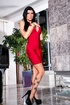 Outstanding hoe in a red dress teases on a pole and then sucks a shaft
