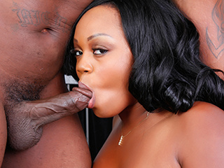 Busty black bitch gets mouth and pussy fucked hard - Picture 2