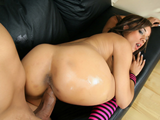 Hot ebony cutie riding a dick and chick in striped - Picture 6