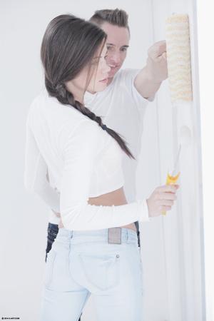 Brunette teen with plaits gets her snatc - XXX Dessert - Picture 2