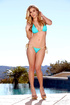 Smoking hot blonde posing her perfect curves while she peels off her turquoise