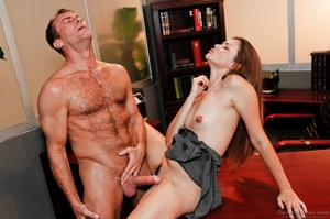 Outstanding woman in a grey skirt gets jizzed by a guy at the office. - XXXonXXX - Pic 13