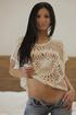 Brunette teen cutie in a white crocheted top…