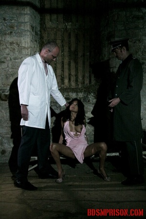 Brunette prisoner in a tattered pink dress gets whipped with a riding crop in her cell. - XXXonXXX - Pic 2