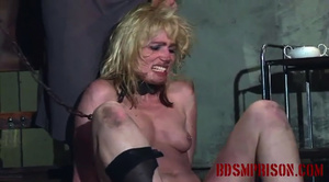 Collared blonde cutie gets her pussy stuffed with a wooden rod. - XXXonXXX - Pic 11