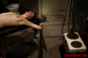 Slim broad in the nude gets the hot and cold treatment from her interrogators. - XXXonXXX - Pic 6