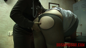 Chubby lady guard gets her butt spanked for letting a prisoner escape. - XXXonXXX - Pic 12