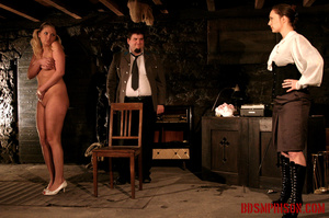 Blonde in pigtails wearing white shoes gets fingered and whipped in the interrogation room. - XXXonXXX - Pic 1