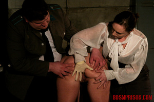 Blonde in pigtails wearing white shoes gets fingered and whipped in the interrogation room. - XXXonXXX - Pic 3