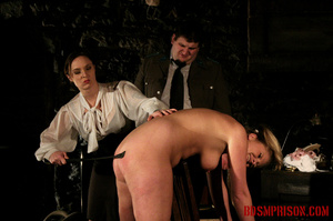 Blonde in pigtails wearing white shoes gets fingered and whipped in the interrogation room. - XXXonXXX - Pic 5