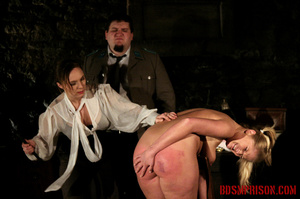 Blonde in pigtails wearing white shoes gets fingered and whipped in the interrogation room. - XXXonXXX - Pic 7