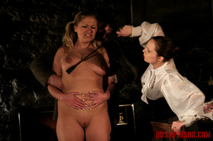 Blonde in pigtails wearing white shoes gets fingered and whipped in the interrogation room. - XXXonXXX - Pic 8
