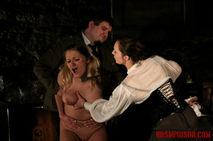 Blonde in pigtails wearing white shoes gets fingered and whipped in the interrogation room. - XXXonXXX - Pic 9