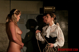 Blonde in pigtails wearing white shoes gets fingered and whipped in the interrogation room. - XXXonXXX - Pic 12