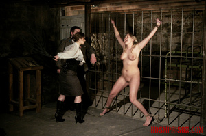 Blonde in pigtails wearing white shoes gets fingered and whipped in the interrogation room. - XXXonXXX - Pic 14