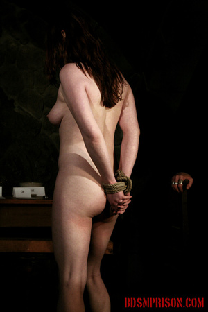 Seated naked chick gets her nipples clamped, weights are hung and then fed with a dildo. - XXXonXXX - Pic 1