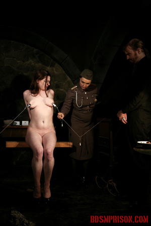Seated naked chick gets her nipples clamped, weights are hung and then fed with a dildo. - XXXonXXX - Pic 8