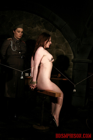 Seated naked chick gets her nipples clamped, weights are hung and then fed with a dildo. - XXXonXXX - Pic 10