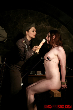 Seated naked chick gets her nipples clamped, weights are hung and then fed with a dildo. - XXXonXXX - Pic 13