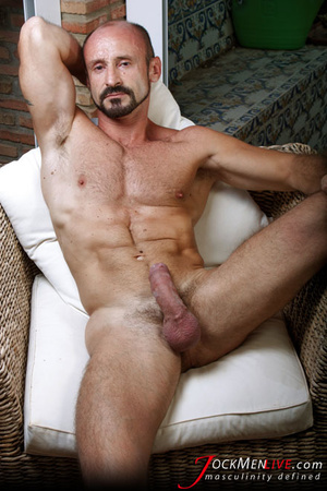 Muscular hung with a beard posing in red undershorts and showing his long dong - XXXonXXX - Pic 9