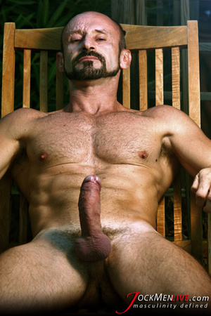 Muscular hung with a beard posing in red undershorts and showing his long dong - XXXonXXX - Pic 11
