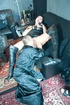 Brunette granny in leather getting her cunt licked…