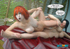 Brunette bitch with a plait and busty redhead playing lesbian games
