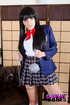 Horny brunette in an anime cosplay drilling her…