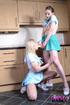 Two slim geek girls in cosplays lezzing in the…