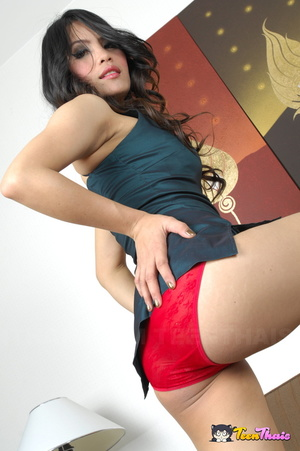Beautiful Thai babe takes off her blue blouse then displays her smoking hot body in red lingerie then she takes it off piece by piece before she sucks her boyfriend's dick then she lets him fuck her in different positions on a brown couch. - XXXonXXX - Pic 1