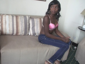 Black babes shows their hot bodies while posing naked or in pink lingerie while others swallows a huge cock til it burst on her face on a white couch or getting fucked in missionary position on a white bed. - XXXonXXX - Pic 6