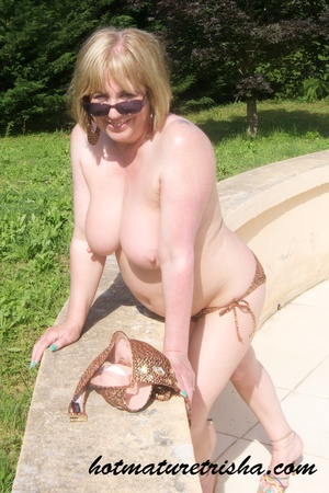 Mature hottie with sunglasses unstrings her sparkling golden brown bikini then displays her fat body with big soggy boobs outdoor. - XXXonXXX - Pic 13