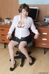Mature secretary takes off her pink and white…