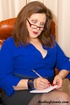 Cougar boss opens her blue blouse and takes off…