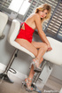Luscious blonde loves to tease as she pose her slim sexy body while slowly