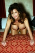 Busty milf charmer in hot red lingerie goes nude to play with dildo in