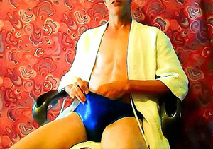 Horny stepdad takes off his yellow robe and blue brief then holds his dick tight and masturbates on a brown chair. - XXXonXXX - Pic 2